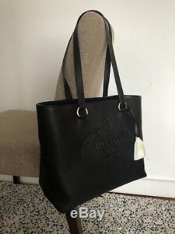 Auth New Prada 1bg100 En Cuir Noir Vitello Phenix Shopper Bourse Estampillage