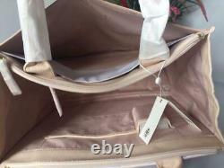 Auth Nwt Tory Burch Ella Canvas Pebbled Leather Tote Shopper Sac En Chêne Clair