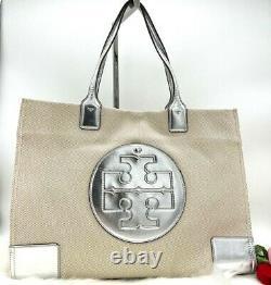 Auth Nwt Tory Burch Ella Logo Grand Sac De Sac En Cuir Toile En Cuir Naturel/ Argent