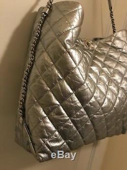 Authentique Chanel Big Bang Sac Argent Hobo Sac En Cuir De Veau Boîte Paperasse Sac À Main