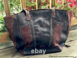 Bed Stu Amelie Black Teak Rustic Leather Fourre-tout A694503 Blktk