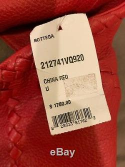 Bottega Veneta Cervo Grand Hobo Épaule Sac En Cuir Rouge Nwt $ 1780