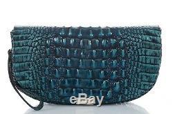 Brahmane Sandrine Melbourne Turquoise En Cuir D'embrayage Sac À Main Wristlet Nwt
