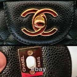 Chanel Auth Jumbo, Grand Sac En Cuir De Caviar Noir Double Flap - Nouveau