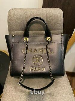 Chanel Black Caviar Leather Gold Studded Deauville Sac À Main