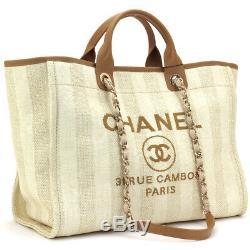 Chanel Deauville Sac Fourre-tout D'épaule Chaîne Beige A66941 Shopping Femme Auth Nouveau