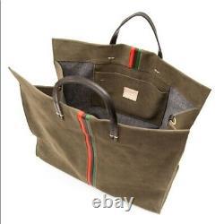 Clare V. Simple Tote Suede Army Green Bag W Stripes Cuir T.n.-o. Épaule