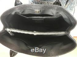 Coach Black Tote Bag Purse Sac À Main Authentique Nouveau Cuir Crossgrain + Portefeuille