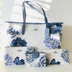 Coach City Tote Kaffe Fassett Floral White Purse Wristlet Wallet Set Options Nwt