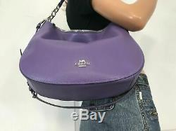 Coach Elle Hobo Pebbled Cuir Sac À Bandoulière Satchel F31399 Light Purple Argent