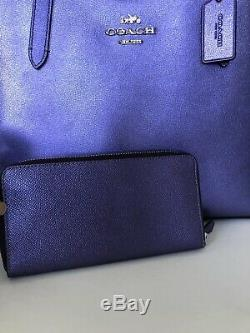 Coach F37871 Métallique Pourpre Avenue Tote Sac À Main Bourse Violet Wallet Set Nouveau