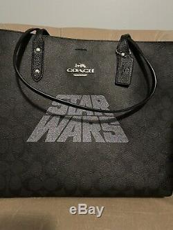 Coach F88019 Star Wars X Ville Grand Sac Fourre-tout Sac À Main Et Slim Wallet Set Noir