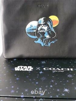 Coach X Star Wars Grande Pochette Housse Tablette Darth Vader Sac 298 $ Noir
