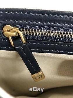 Dior Oblique Selle Navy Sac À Main Bourse Taupe Comme Nouveau Rrp $ 5100aud