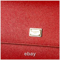 Dolce & Gabbana Sicily Large Dauphine Calf Leather Red Women's Handbag Nouveau