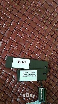 Falor Firenze Véritable Fourre-tout En Cuir Tissé À La Main F7349 Italie Authentique Nwt