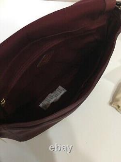 Fossil Lg Preston Flap Maroon Pebbled Cuir Crossbody Sac D'épaules Nouveau