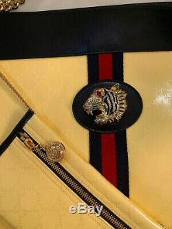 Gucci Gg Logo Linea Supreme Rajah Tête De Tigre De Toile De Sac À Bandoulière Jaune Tn-o