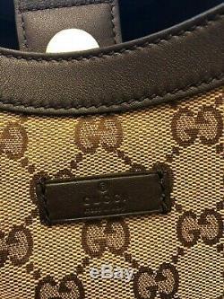 Gucci Gg Toile Monogram Sac À Bandoulière Cuir Marron Foncé Garniture Tote 388919 Nouveau