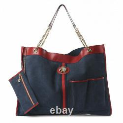 Gucci New Rajah Large Suede Navy Calfskin Tote