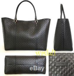 Gucci Noir Micro Guccissima Capsule-pression Sac Fourre-tout Shulder Extra Large Authentique Nwt