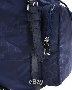 Gucci Sac À Dos Léger Gg Guccissima En Nylon Bleu Nouveau