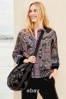 Johnny Was Adele Velvet Handbag Large Black Embroidery Flower Tote Bag Grande Nouvelle