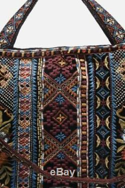 Johnny Was Naomi Velours Tote Hippie Sac De Velours Sac Besace Brown Tiger Eye New