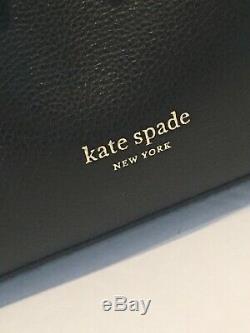 Kate Spade Eva Grand Seau D'épaule Sac Fourre-tout En Cuir À Bandoulière Noir En Or 379 $