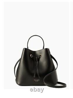 Kate Spade Eva Large Bucket Shoulder Tote Bag Crossbody Black Leather Gold 379 $