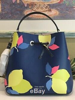 Kate Spade Eva Lemon Zest Grand Seau D'épaule Sac Fourre-tout Bleu Marine Jaune 379 $