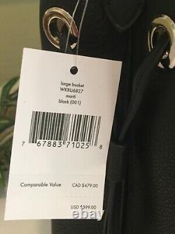 Kate Spade Marti Grand Bucket Sac À Épaule Tote Purse En Cuir Noir Or 399 $