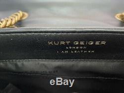 Kurt Geiger London Kensington Grand Sac Noir / Or Épaule En Cuir Chaîne Nouveau