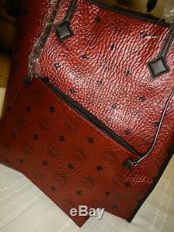 MCM Shopper Métallique Scooter Rouge Visetos / Cuir #nwp 8sfo42 Tl001, Nwt