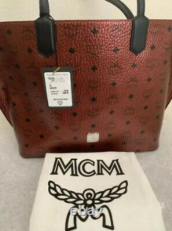 MCM Spot Visetos Logo Prints Coated Canvas Scooter Red Shopper Womens Tote Bag