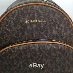 Michael Kors Abbey Jet Set Mk Signature Grand Sac À Dos En Cuir Tn-o