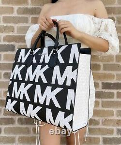 Michael Kors Everlyn Large Satchel Convertible Tote Graphic Logo Mk Noir Blanc