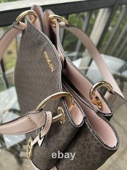 Michael Kors Femmes Grand Sac À Bandoulière En Cuir Pvc Sac À Main Brown Bag+wallet