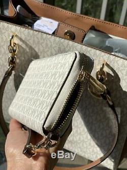 Michael Kors Femmes Medium Large Épaule Fourre-tout Sac À Main Vanilla + ID Wallet