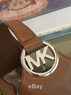 Michael Kors Fulton Grand Hobo Sac À Bandoulière Sac À Main En Cuir Brun Mk Luggage 398 $