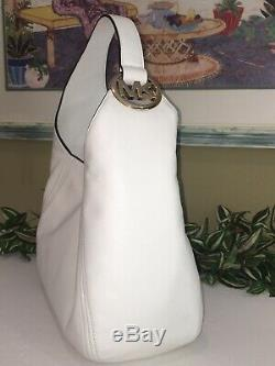 Michael Kors Fulton Grand Sac À Bandoulière Hobo Purse Mk Or Blanc En Cuir 398 $