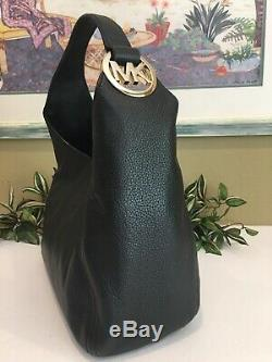 Michael Kors Fulton Grand Sac À Bandoulière Hobo Sac En Cuir Noir Mk Or 398 $