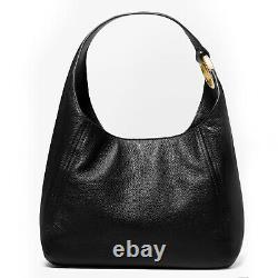 Michael Kors Fulton Large Hobo Pebbled Leather Shoulder Bag Noir