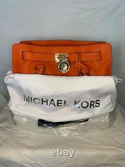 Michael Kors Hamilton Grand Ns Orange Saffiano Sac De Sac En Cuir Purse