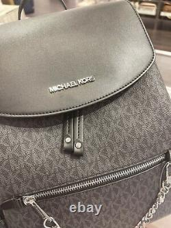 Michael Kors Jet Set Grande Signature Pvc Chaîne Sac À Dos Logo Noir