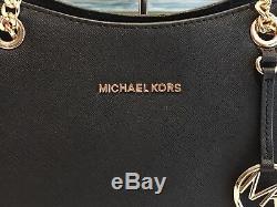 Michael Kors Jet Set Voyage Grande Chaîne D'épaule Sac Fourre-tout En Cuir Noir 378 $