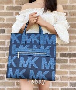 Michael Kors Kenly Grand North South Tote Graphic Logo Mk Crossbody Blue