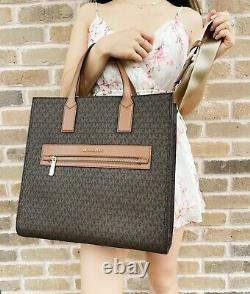 Michael Kors Kenly Grand North South Tote Leather Brown Mk Signature Bagage