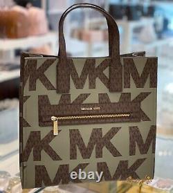 Michael Kors Kenly Grand Tote Logo Signature Pvc Sac Army Green Multi