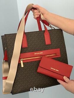 Michael Kors Kenly Large Fourre-tout Brown Mk Signature Red Bag Wallet Set